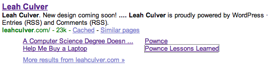 Google result for Leah Culver